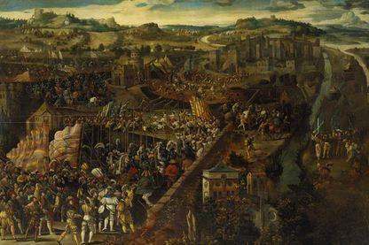 Un tableau représentant la bataille de Pavie , un engagement militaire du 24 Février , 1525