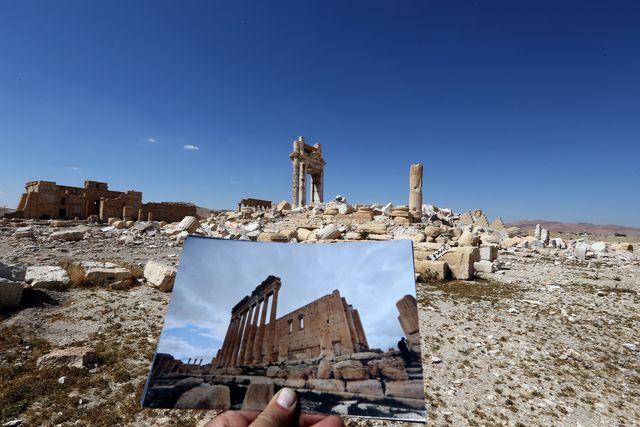 Le temple de Baal, à Palmyre, détruit par le groupe Etat Islamique