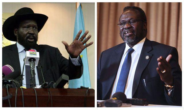 Le président du Sud-Soudan Salva Kiir et Riek Machar, le leader rebelle soudanais en visite au Kenya