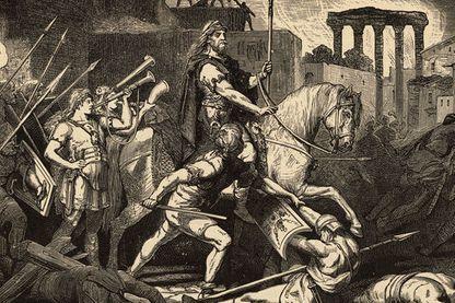Représentation du Roi wisigoth Alaric lors de la mise à sac de Rome
