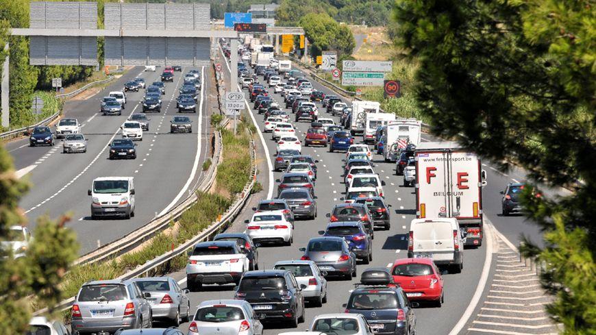 Embouteillage sur l'A9 entre Saint-Jean-de-Védas et Montpellier.
