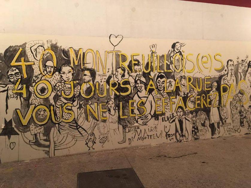 7è fresque en soutien aux 13 familles Roms, à la rue depuis 42 jours à Montreuil