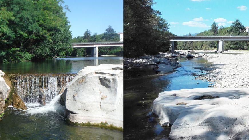 Le plan d'eau de Rosières, à gauche, il y a une semaine ; à droite, aujourd'hui.
