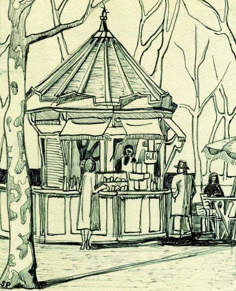 Citronnade Stand in Tuileries, 1956 (Plume et encre sur papier, 14 × 11,5 cm)