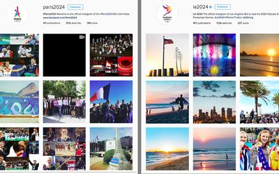 """Paris contre Los Angeles : des arguments de \""""vente\"""" en images sur les comptes de candidature Instagram des deux villes."""