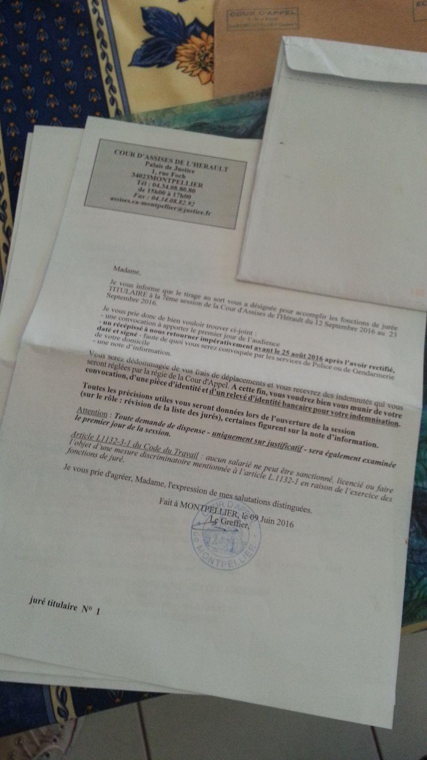 La lettre de convocation de  la cour d'assises de l'Hérault