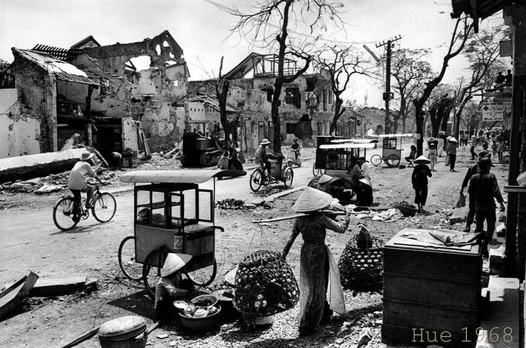 The former Imperial city of Hue, after the bombing by the Americans in May 1968.