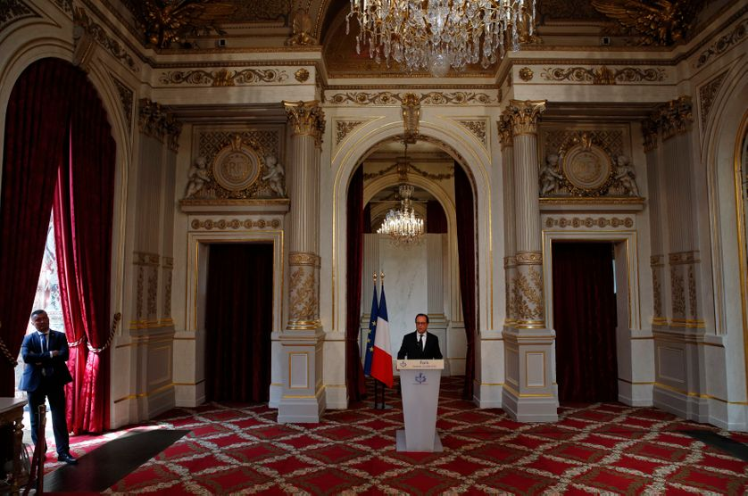 French President Francois Hollande delivers a statement after a defence council at the Elysee Palace in Paris, France, July 22, 2016 following last week's deadly truck attack in Nice.