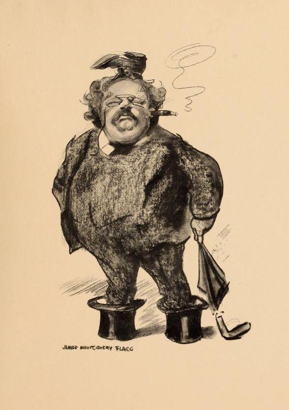 Caricature de G.K. Chesterton, 1914 [Public domain], via Wikimedia Commons