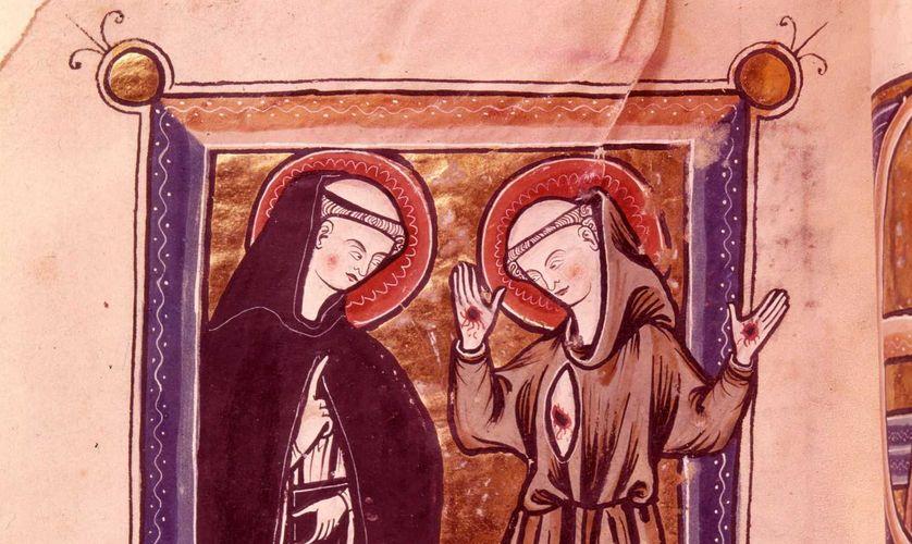 Saint Dominique et Saint Francois d'Assise, Psautier latin du XIIIème siècle