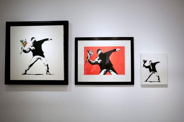 """Aperçu de l'exposition """"Guerre, Capitalisme et liberté"""" de l'artiste Banksy"""