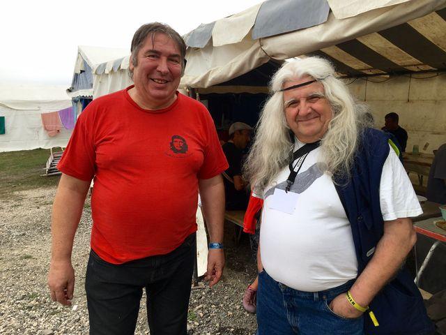 """Pierre Blondeau et Jeannot dit """"le Suisse"""", à la fête de l'Huma"""