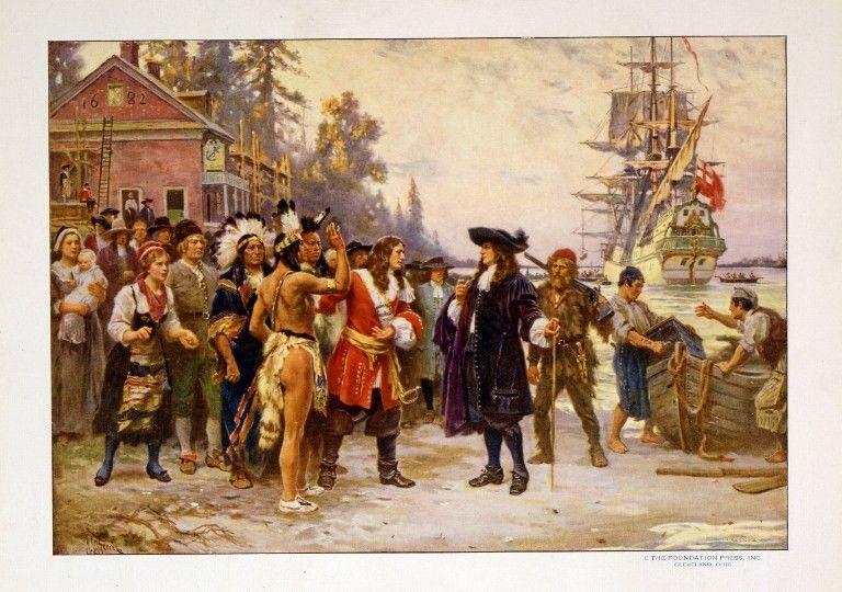 Arrivée de William Penn sur le sol américain