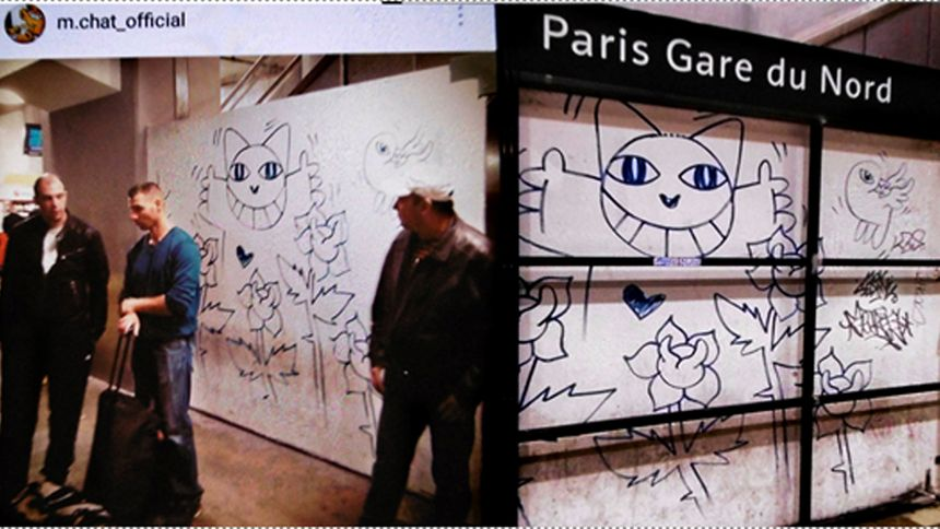 """Les dessins de """"Monsieur Chat"""" à la gare du Nord  à Paris"""