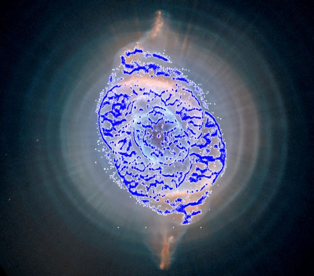 Carte des 84 000 étoiles détectées par Gaia dans la nébuleuse de l'Oeil de Chat (NGC 6543).