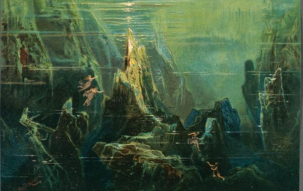 France, Paris, Set design for act I of The Ring of the Nibelung - The Rhinegold by Richard Wagner ©DEA PICTURE LIBRARY