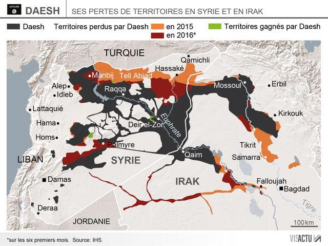 Territoires contrôlés par l'organisation État Islamique