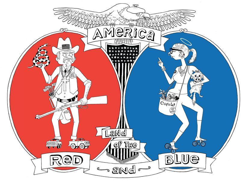 Dessin de Ted Stearn, inspiré par la carte américaine « Red and Blue states »