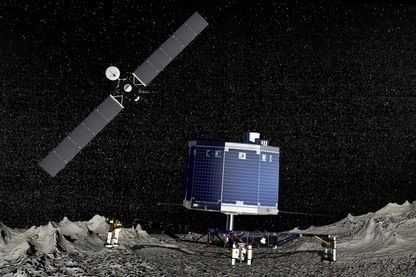 La sonde Rosetta au-dessus de la comète 67P Churyumov-Gerasimenko avec Philae à sa surface