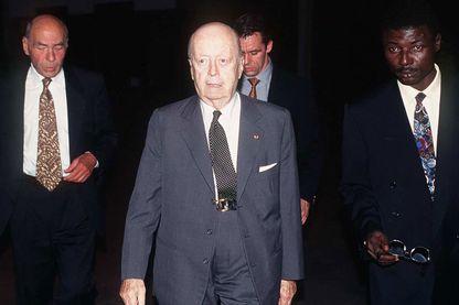 Jacques Foccart lors de la visite de Jacques Chirac au Gabon, 1995