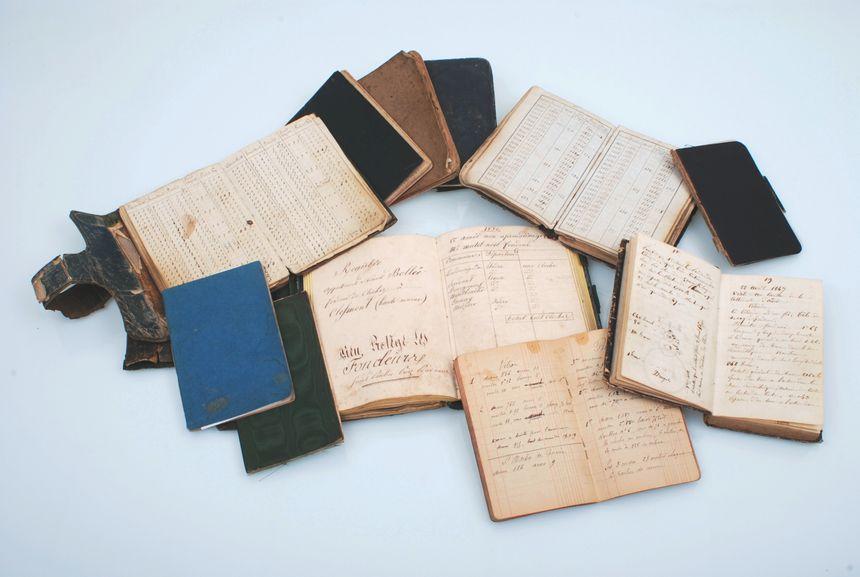 Réunion de plusieurs carnets d'Ernest Sylvain Bollée, d'Amédée Bollée père et d'Amédée Bollée fils, 1830-[1904]
