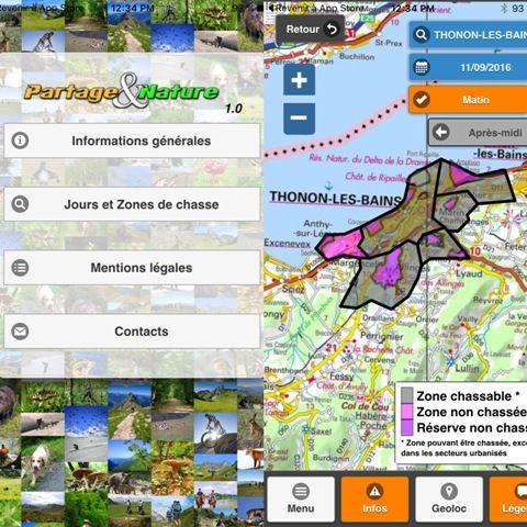 Cette application doit permettre aux promeneurs d'identifier les zones de chasses.