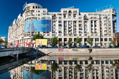 Bâtiments reflétés dans le Dambovié, une rivière à Bucarest (Roumanie)