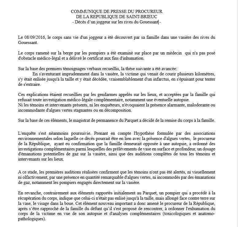 Le communiqué du procureur de la République de Saint-Brieuc
