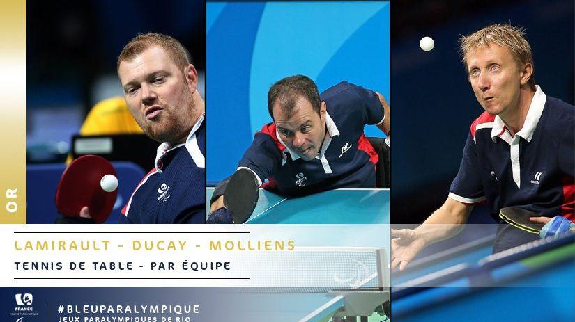 Jeux paralympiques tennis de table le mosellan st phane molliens en or avec l 39 quipe de france - Equipe de france de tennis de table ...