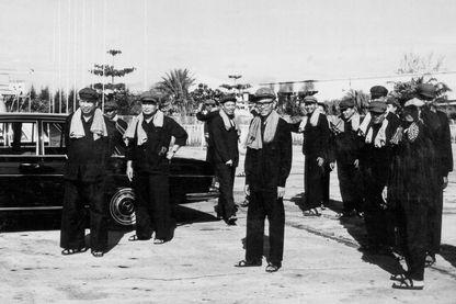 Les dirigeants Khmers rouges à Phnom Penh Pol Pot, Nuon Chea, Leng Sary et Son Sen entre 1975 et 1979.
