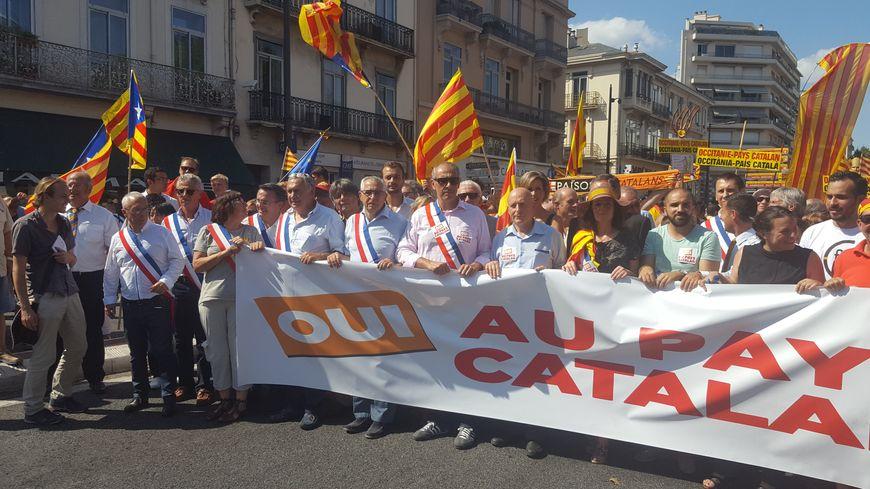 """La tête de cortège avec les membres du collectif """"Oui au Pays Catalan' rejoints par certains élus"""