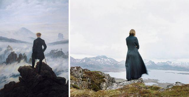 à gauche, le voyageur contemplant une mer de nuages (Caspar David Friedrich, 1818) - à droite, Der Wanderer 2, de la série The New Painting (Elina Brotherus, 2004)