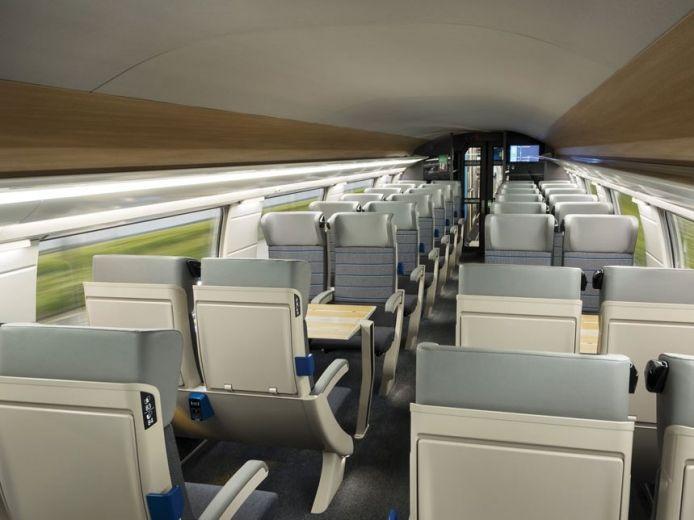 La voiture de seconde classe du nouveau TGV Océane.