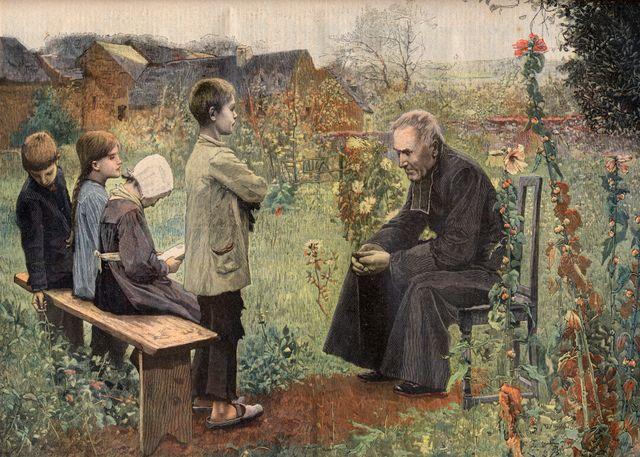 Le catéchisme, gravure d'après le Tableau de Meunier. Le Petit Journal, juin 1898