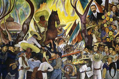 L'armée révolutionnaire de Zapata et de Pancho Villa, fresque de l'hôtel du Prado à Mexico