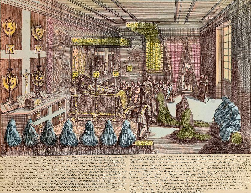 Louis XIV à Versailles sur son lit de mort le 1er septembre 1715