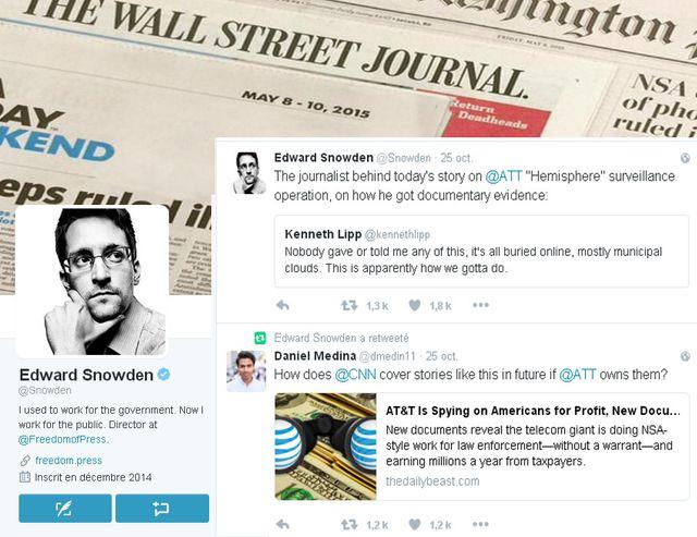 Sur son compte Twitter Edward Snowden reste présent et retweete régulièrement les informations dénonçant les violations de la vie privée.