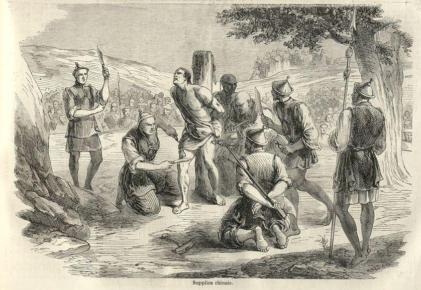 Illustration du Monde illustré de 1858 : scène de torture et d'exécution d'un missionnaire français (Auguste Chapdelaine) en Chine par le supplice du lingchi.