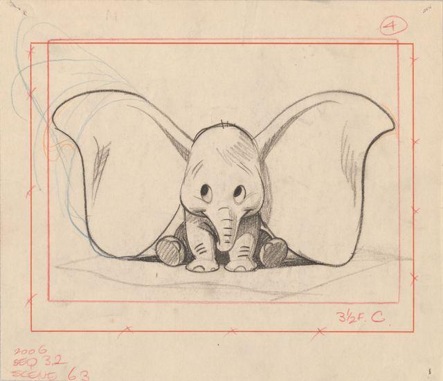 Dessin de Dumbo par Bill Peet, l'un des dessinateurs des studios Disney de 1937 à 1967