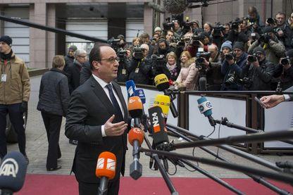 François Hollande face à des journalistes en Février 2016 à Bruxelles