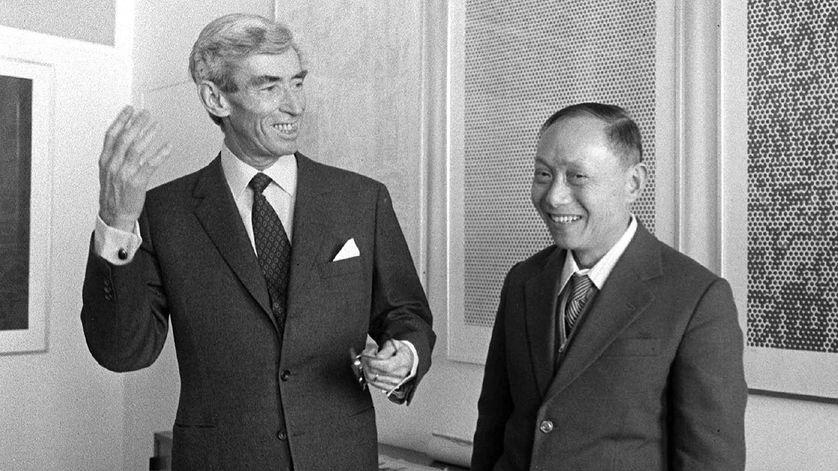 Hergé et Tchang le 19 mars 1981.