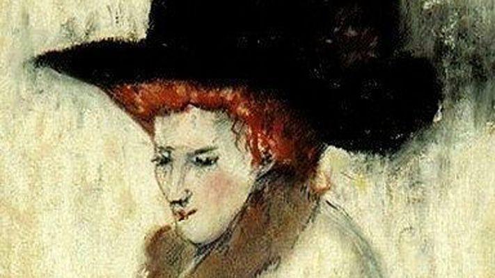 Dame avec un chapeau noir par Paul Gosselin