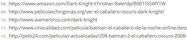 Extrait d'une liste de sites que la Warner demandait à Google de bloquer