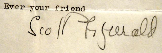 La signature de FS Fitzgerald