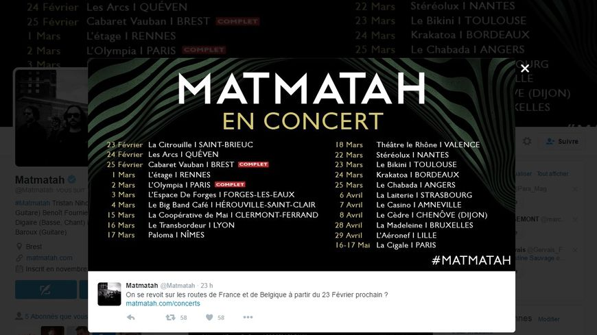 Le groupe breton Matmatah annonce une série de concerts via les réseaux sociaux