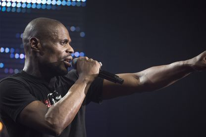 """Le rappeur Kery James. Enregistrement au Bataclan de l'emission """"Hip Hop Live 2013"""" diffusee le 3 janvier 2014 en France"""