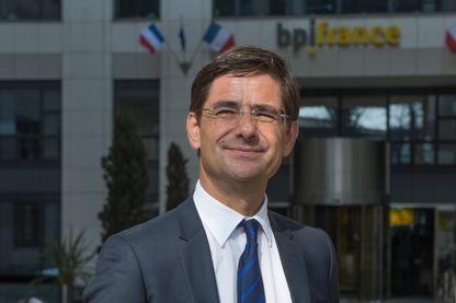 Nicolas Dufourcq devant le siège de la Banque publique d'investissement. (BPI ) Nicolas Dufourcq