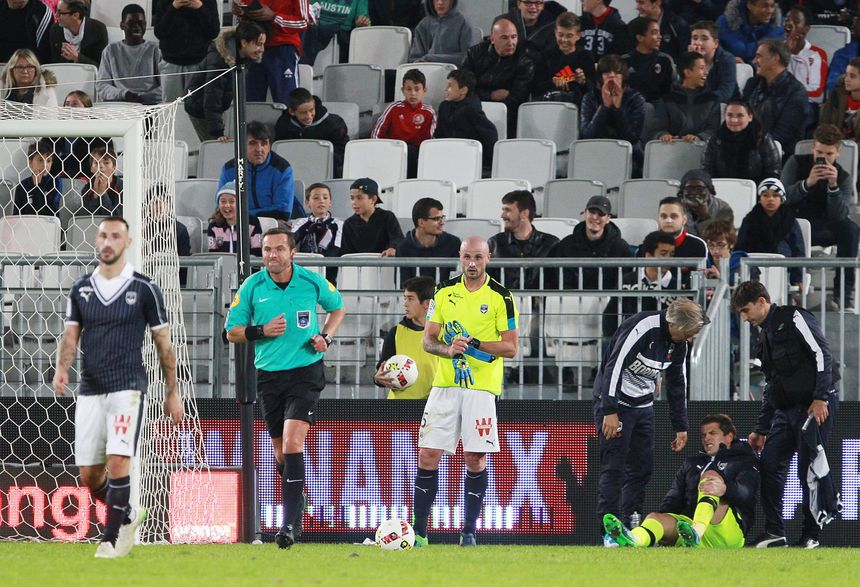 C'est l'image de la soirée, Nicolas Pallois obligé de remplacer Cédric Carrasso, visiblement blessé.