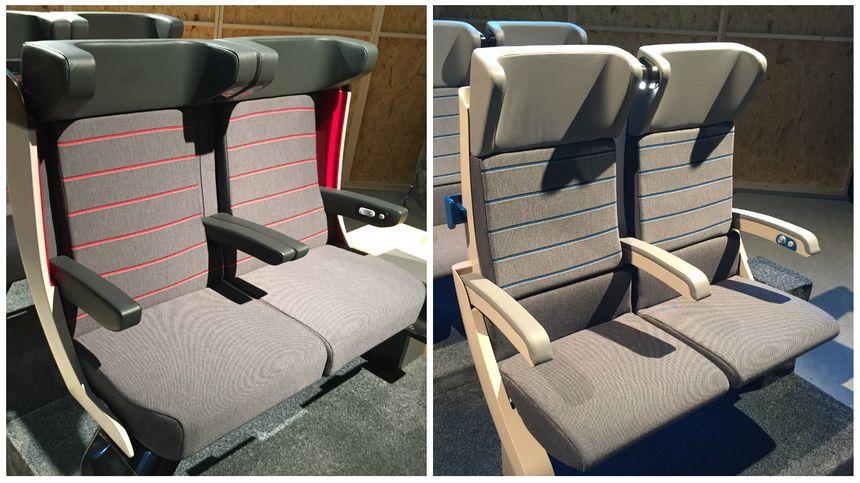Les sièges de première et de seconde du futur TGV Océane.