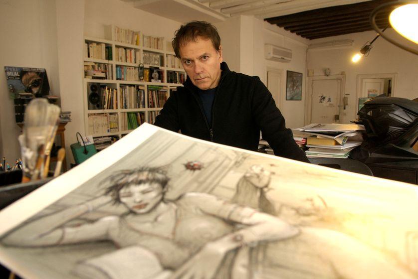 Enki Bilal dans son atelier à Paris
